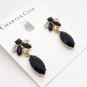 Charter Club Crystal Post Earrings Clear & Black